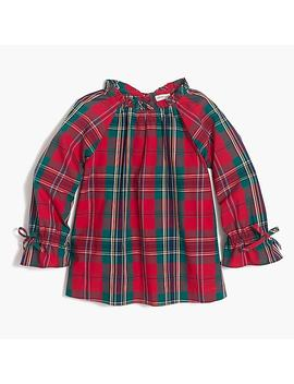 Girls' Long Sleeve Ruffle Neck Top In Holiday Plaid by J.Crew