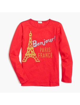 Girls' Long Sleeve Bonjour Keepsake T Shirt by J.Crew