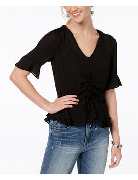 Juniors' Ruched Peplum Ruffle Blouse by Bcx