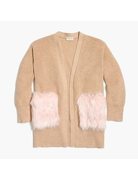 Girls' Long Cardigan Sweater With Fur Pockets by J.Crew