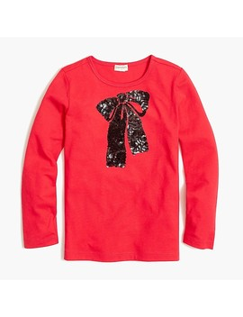 Girls' Long Sleeve Sequin Bow Graphic T Shirt by J.Crew