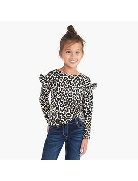 Girls' Long Sleeve Ruffle Shoulder Top In Leopard Print by J.Crew