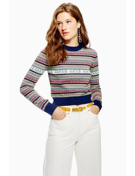 Slogan Fair Isle Jumper by Topshop