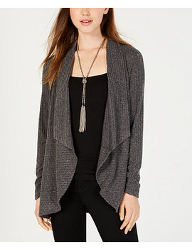 Juniors' Rib Knit Waterfall Front Cardigan by Bcx
