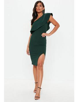 Green Scuba One Shoulder Midi Dress by Missguided