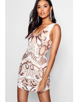 Sequin Print Bodyon Dress by Boohoo