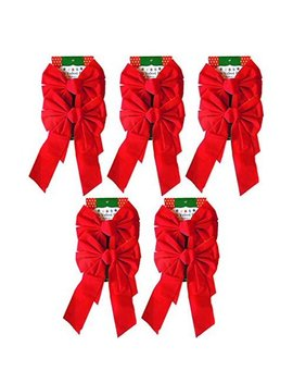 "9"" X 16"" Decorative Red Velvet Christmas Bows (10 Pack) by Black Duck Brand"