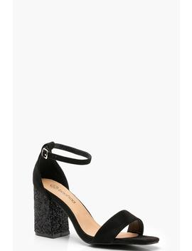 Wide Fit Glitter Block Heel Two Parts by Boohoo