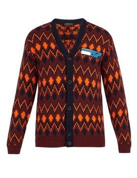 Chevron Jacquard Wool Blend Cardigan by Prada
