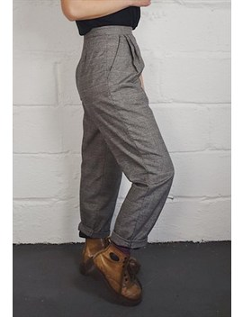 Vintage 90s Houndstooth Check Trousers by Happy Dais