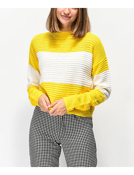 Ethos Yellow Block Mock Neck Sweater by Ethik