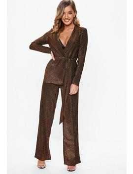 Bronze Shimmer Trousers by Missguided