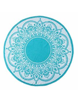 Superior Round Beach Towel, 100 Percents Premium Cotton, 5 Stylish Mandala Beach Towel Designs, Super Soft, Plush And Highly Absorbent Circle Beach Towels   Lotus Intricate Turquoise Medallion by Superior