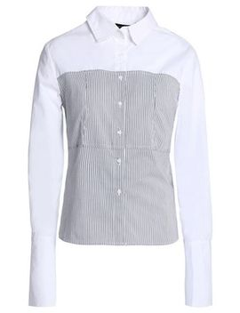 Striped Paneled Cotton Poplin Shirt by W118 By Walter Baker