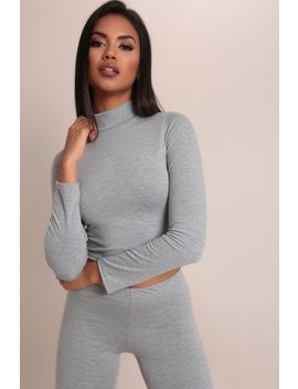 Grey Basic High Neck Crop Top by I Saw It First