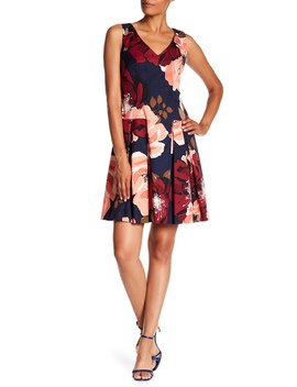 Devoted Floral Print Pleated Dress by Trina Turk