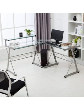 Computer Desk Glass Laptop Table Workstation Home Office Furniture Mecor L Shape Corner by Mecor