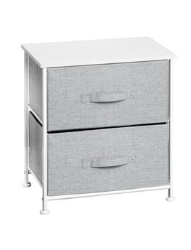 "Inter Design 05233 17.75"" X 12"" X 21.25"" White & Gray Fabric Two Drawer Storage Unit by Inter Design"