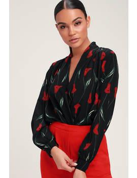 Blossoming Love Black Floral Print Surplice Bodysuit by Lush