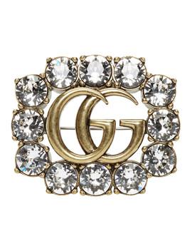 Broche Dorée Crystal Gg by Gucci