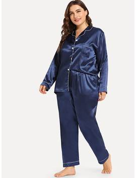 Plus Contrast Binding Button Up Pajama Set by Sheinside
