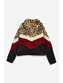**Leopard Print Borg Fleece Jacket By Jaded London by Topshop