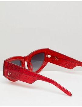 Vow London Naomi Cat Eye Solglasögon I Rött Glitter by Asos