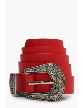 Red Western Belt by Boohoo