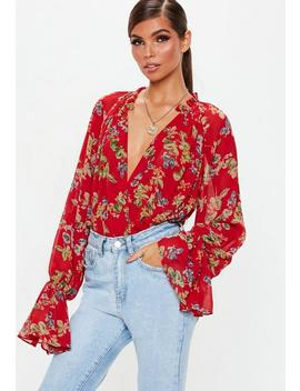 Red Floral Print Balloon Sleeve Bodysuit by Missguided