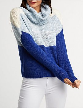 Colorblock Turtleneck Pullover Sweater by Charlotte Russe