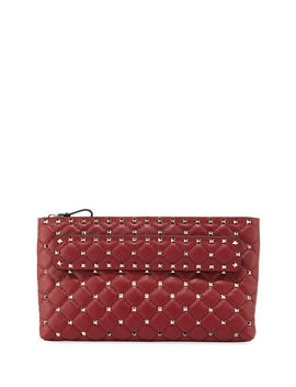 Rockstud Spike Quilted Leather Clutch Bag by Neiman Marcus