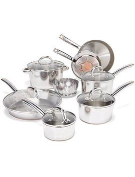 T Fal Stainless Steel With Copper Bottom Cookware Set, Pots And Pans Set, 13 Piece , Silver by T Fal