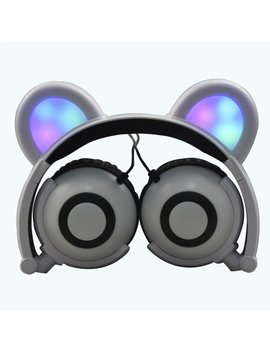 Jamsonic Multicolored Led Light Up Foldable Panda Ear Headphones Use For Phones, Pc, Mp3, Mp4, Kids, Childrens, Boys, Girls by Jamsonic