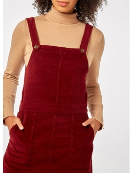 Berry Red Corduroy Pinafore Dress by Dorothy Perkins