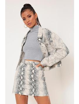 White Snake Print Denim Skirt by I Saw It First