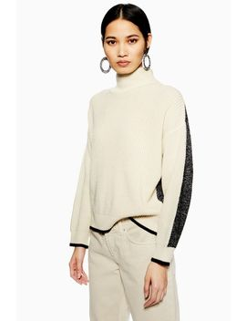Colour Block Roll Neck Jumper by Topshop