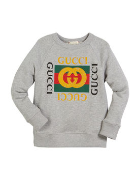 Long Sleeve Logo Sweatshirt, Size 4 10 by Gucci