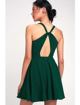 Wonder Whirl Dark Green Twist Back Skater Dress by Lulus