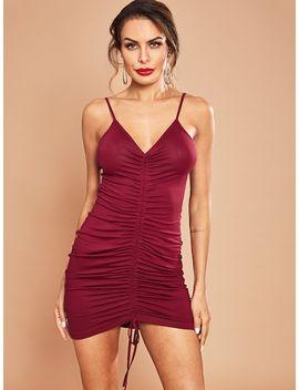 Drawstring Solid Cami Dress by Shein