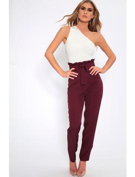 Plum Paperbag High Waisted Trousers by I Saw It First