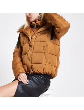 Tan Faux Fur Hooded Puffer Jacket by River Island