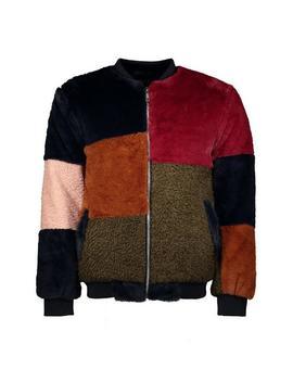 Colour Block Faux Fur Jacket by Boohoo