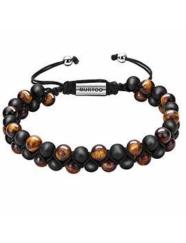 Murtoo Mens Lava Rock Bracelet, Tiger Eye Bead Bracelet For Men Natural Stone Yoga Essential Oil Bracelets For Gift by Murtoo