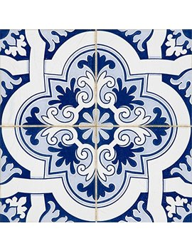 Backsplash Peel And Stick Tile Stickers 24 Pc Set Authentic Tile Decals Bathroom & Kitchen Vinyl Wall Decals Easy To Apply Just Peel & Stick Home Decor (6x6 Inch, Blue Talavera ) by Mi Alma
