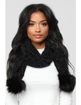 Chenille And Feel Scarf   Black by Fashion Nova