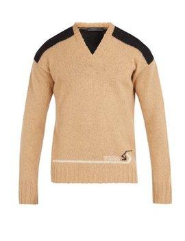 V Neck Shoulder Panel Wool Sweater by Prada