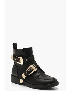 Chunky Buckle Ankle Boots by Boohoo