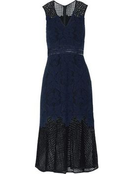 Crochet Paneled Corded Lace Midi Dress by Jonathan Simkhai