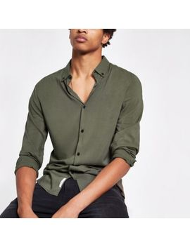 Khaki Viscose Long Sleeve Shirt by River Island