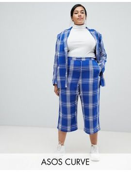 Asos Design Curve Tailored Blue Picnic Check Cropped Wide Leg Pants by Asos Design